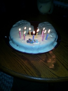 Lovina's youngest child, Kevin, turned 9 this week, and his older sister made him this horseshoe cake.
