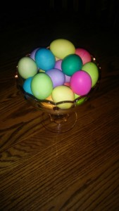 Colorful Easter eggs on the Eichers' kitchen table.