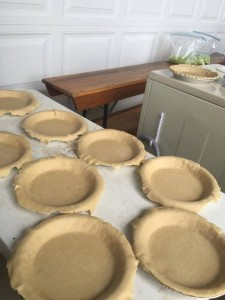 Pie crusts wait for filling as preparations continue for Elizabeth's wedding.