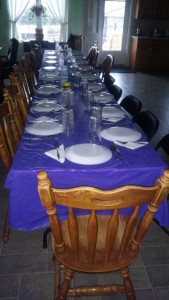 Lovina's Thanksgiving Day table awaits her guests.