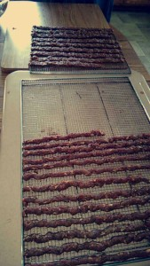 The Eicher girls were busy making venison jerky this week.