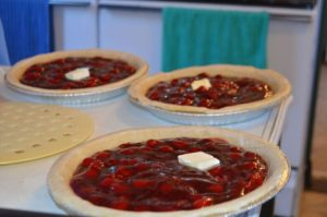 Women helping Lovina prepare for the wedding made many classic, lattice-topped cherry pies.
