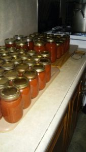 The Eichers canned pizza sauce using tomatoes from their garden.