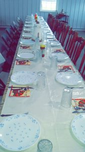 A total of 25 enjoyed a traditional Thanksgiving dinner together at this long table.